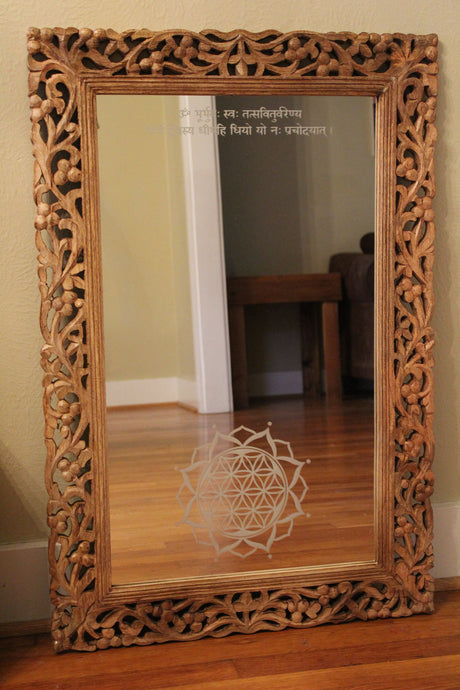 Hand Carved, Etched Mirror