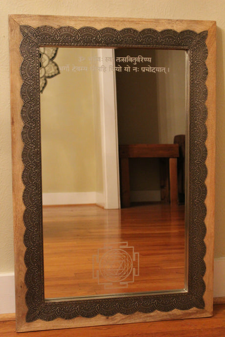 Wood Mirror with Metal Inlay and Spiritual Etchings
