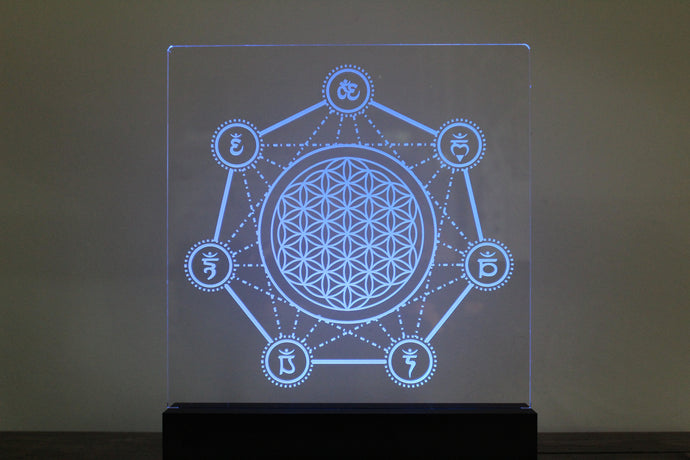 Laser Etched Light Piece: Flower of Life with Chakra Symbols
