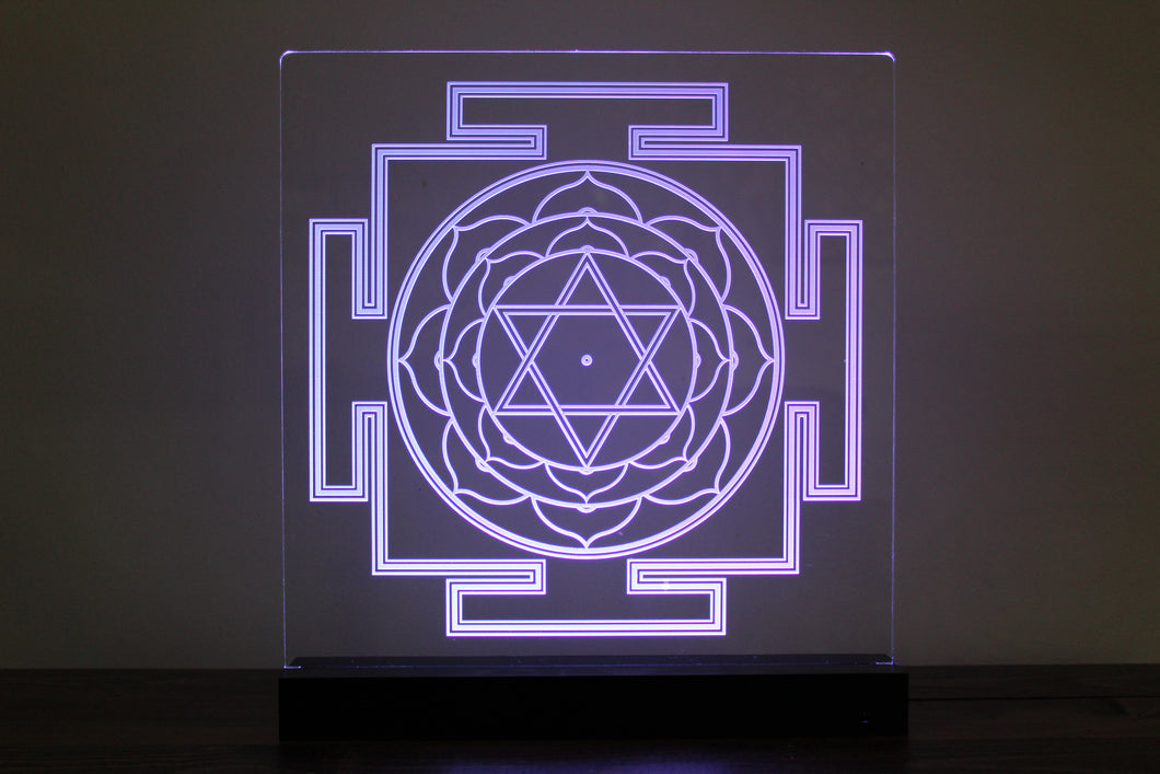 Laser Etched Light Piece: Bhuvaneshwari Yantra