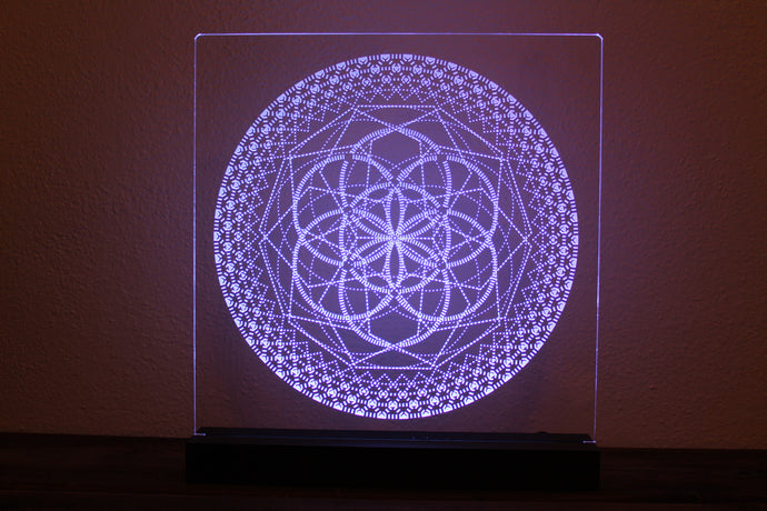 Laser Etched Light Piece: Stylized Seed of Life