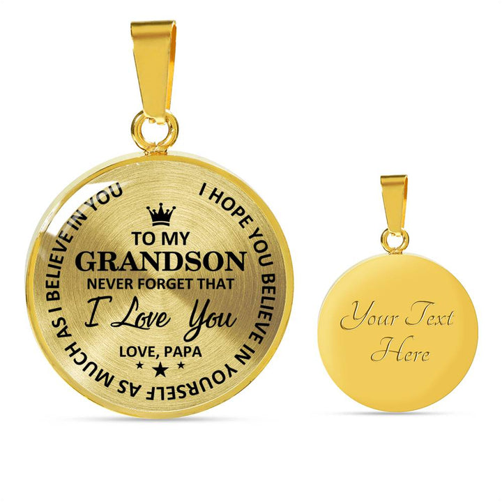 To Grandson - Love Papa Necklace