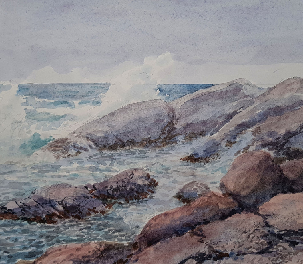 Surf on Rocks in Gray original water color by David Rosenthal