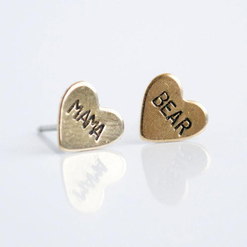 MAMA BEAR, Hand Stamped Heart Earrings