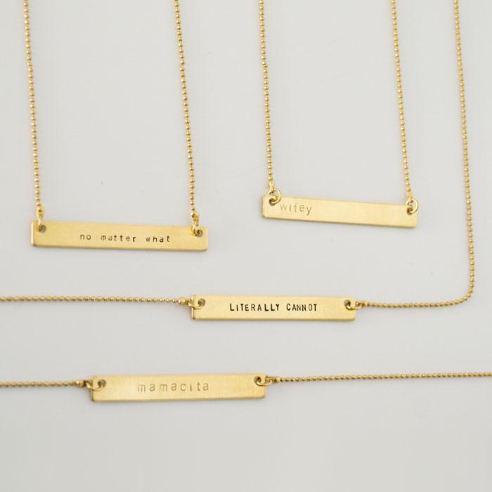 Hand Stamped Bar Necklace: 14