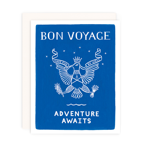 Greeting Card--Bon Voyage by: Girl w/Knife