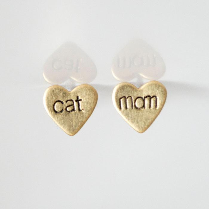 cat mom, Heart Earrings