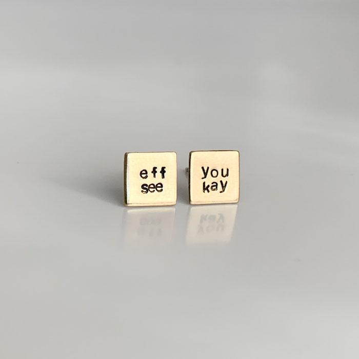 eff you see kay, Square Hand Stamped Earrings