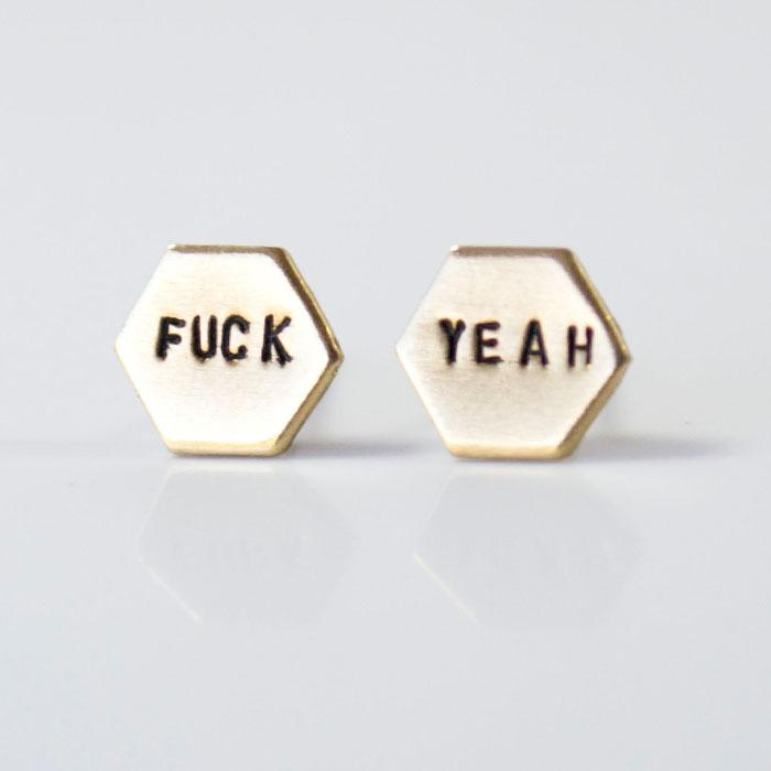 FUCK YEAH, Hexagon Earrings