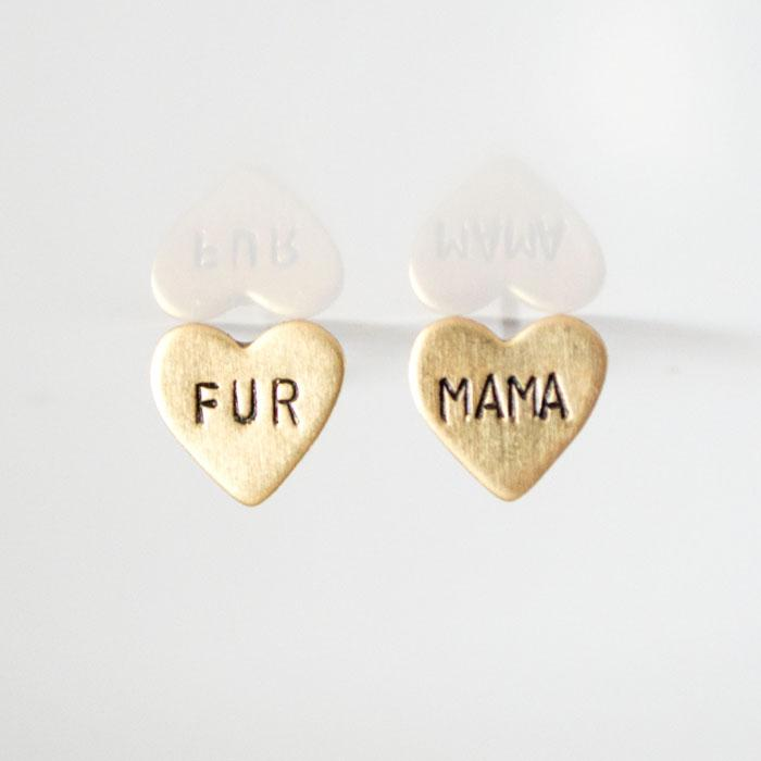 FUR MAMA, Heart Earrings