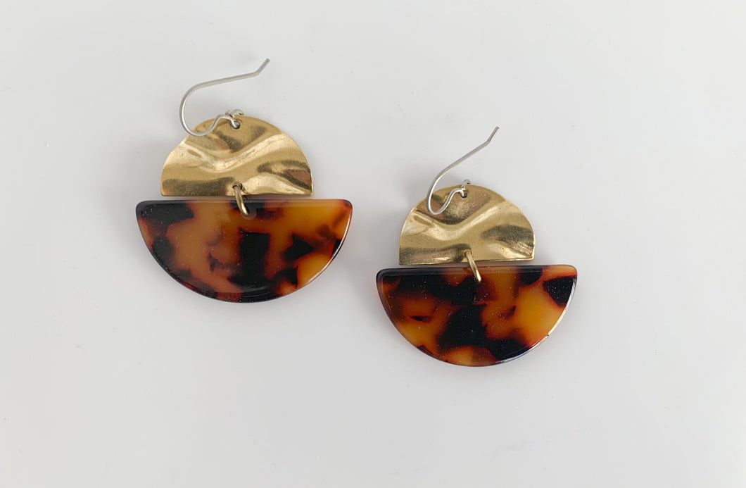 Semi-Circle Tortoise Acetate Dangle Earrings