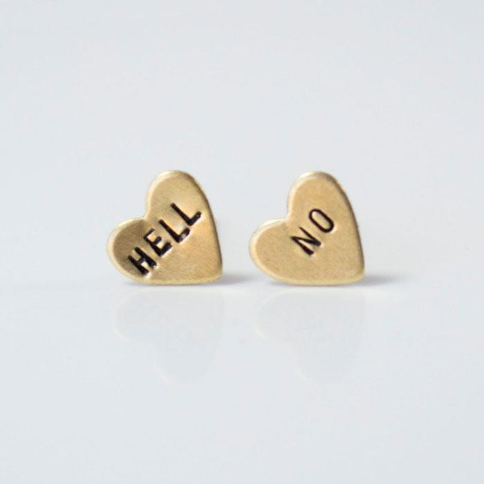 HELL NO, Heart Earrings