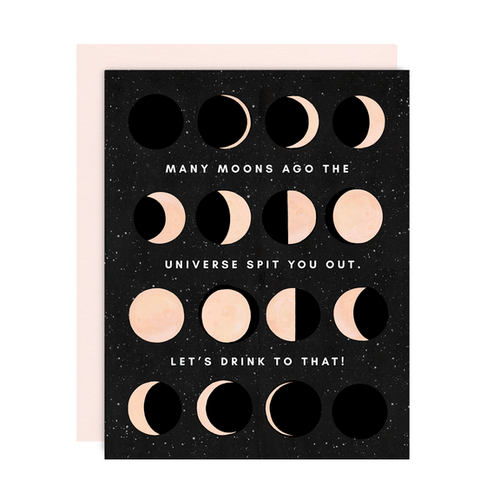 Greeting Card--Many Moons HBD by: Girl w/Knife