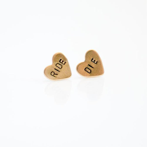 RIDE or DIE, Heart Earrings