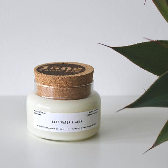 salt water & agave soy candle - 15 oz apothecary jar