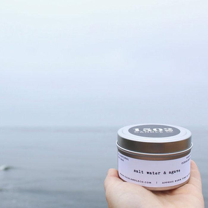 salt water & agave soy wax candle - 6oz travel tin