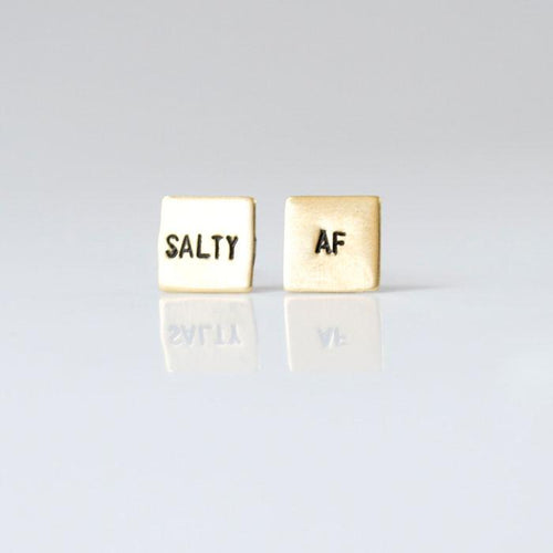 SALTY AF, Hand Stamped Earrings