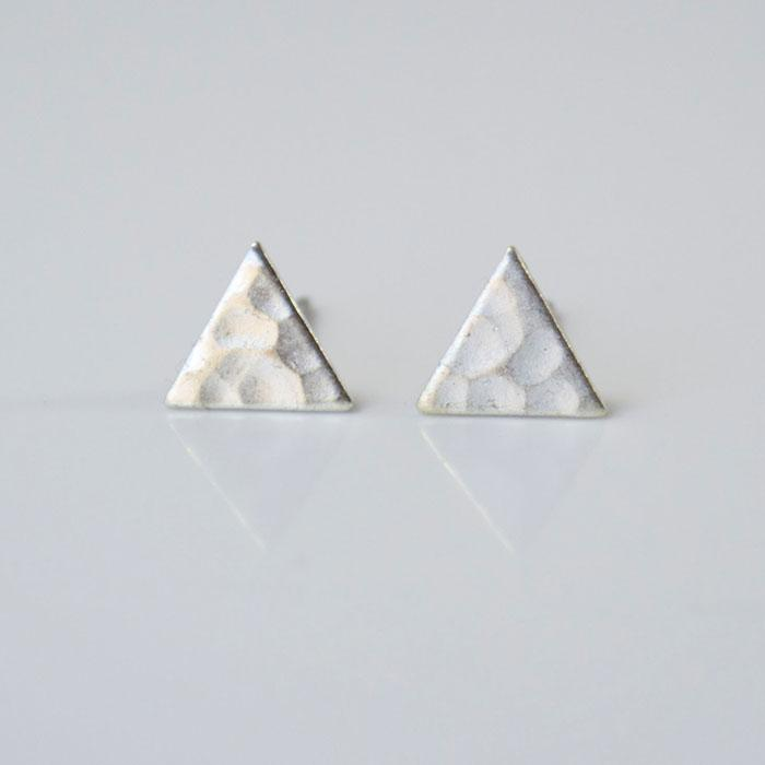 SILVER Hammered Triangle Earrings