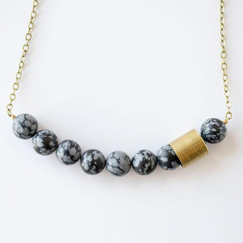 Movement & Sound Beaded Necklace--Snowflake Obsidian