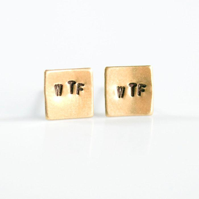 WTF, Hand Stamped Earrings