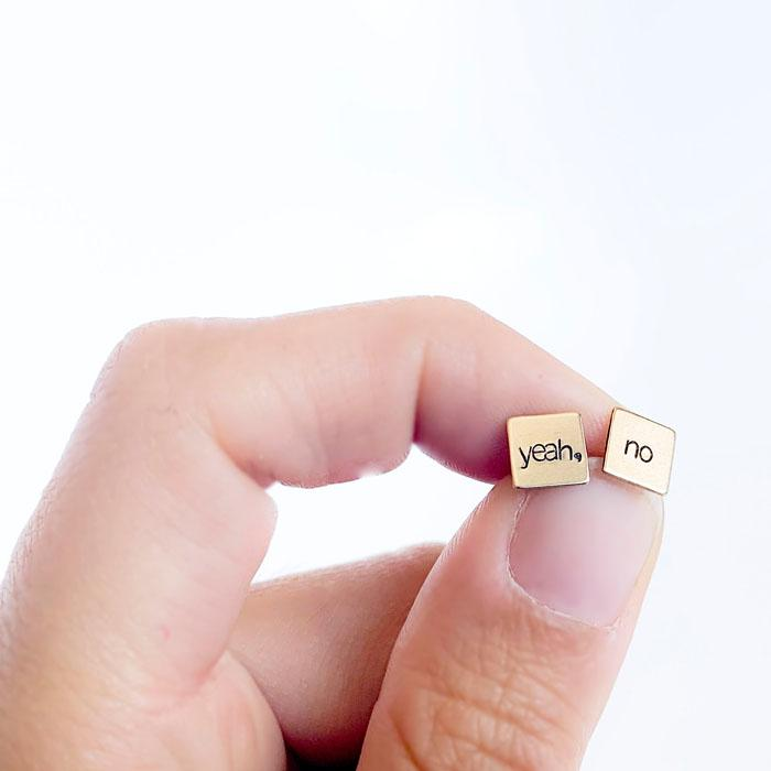 yeah, no -- Square Hand Stamped Earrings