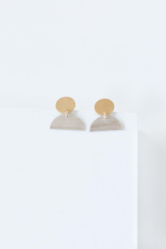Mini Cleo Earrings in Two Tone