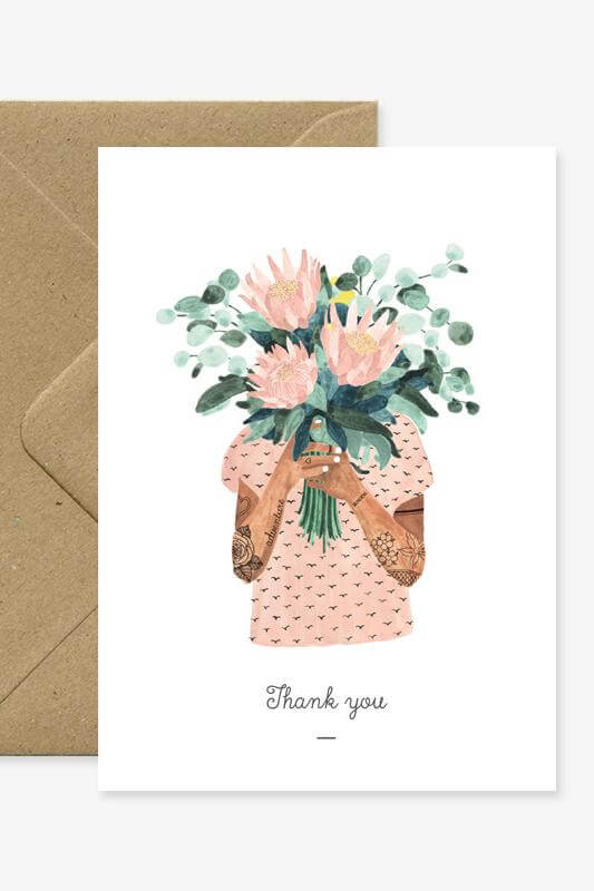 Tattoo Girl Thank You Card