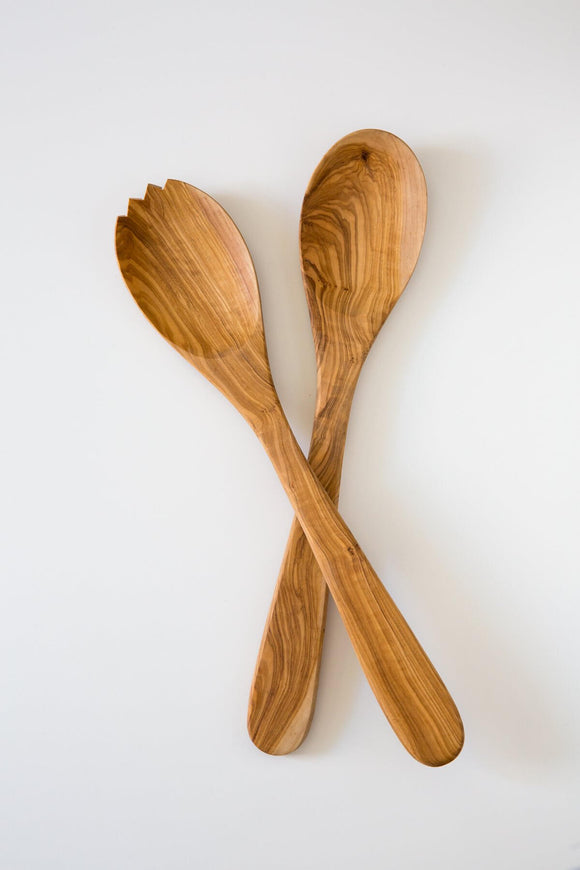 Olive Wood Large Server Set