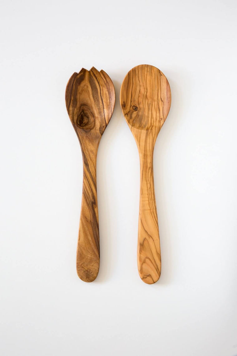 Olive Wood Medium Server Set