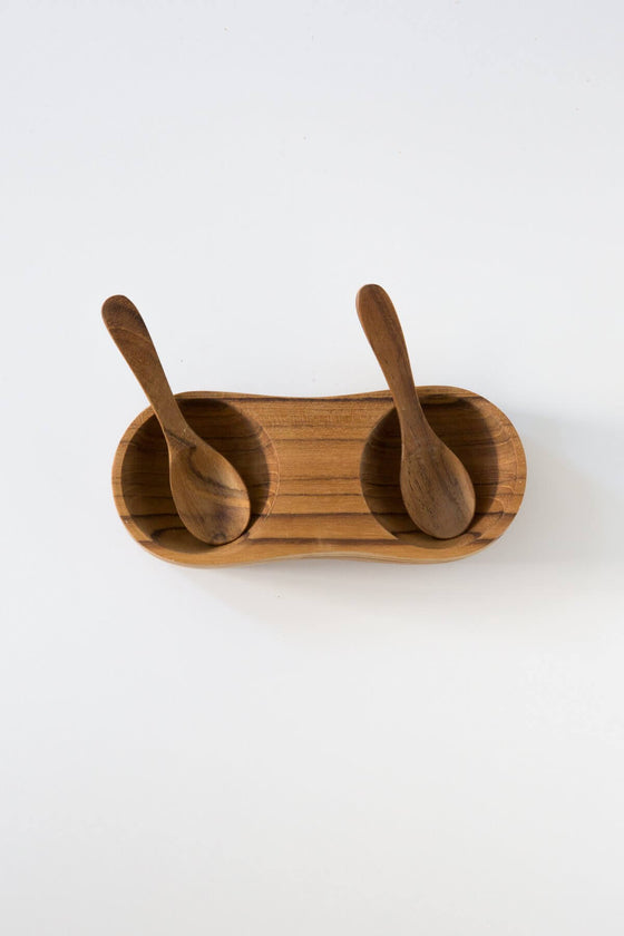 Teak Salt + Pepper Cellar with Spoons