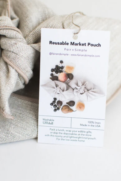 Fair + Simple Reusable Linen Market Pouch Set of Two