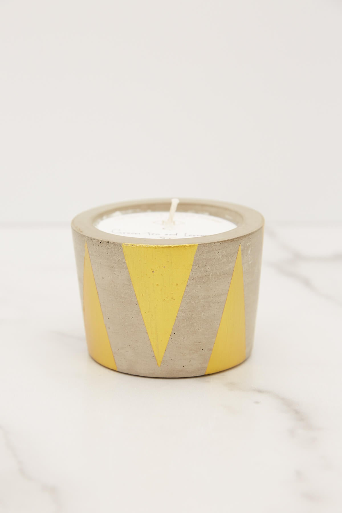MacBailey Candle Co. Small Green Tea + Lemongrass Gold Triangle Candle