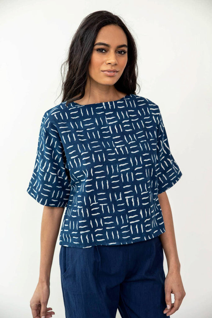 Safi Top in Indigo Matchstick
