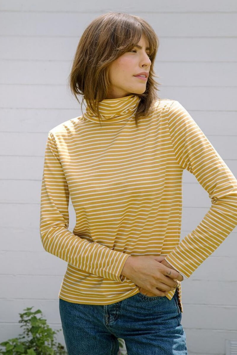 Tradlands Monty Striped Turtleneck Gold