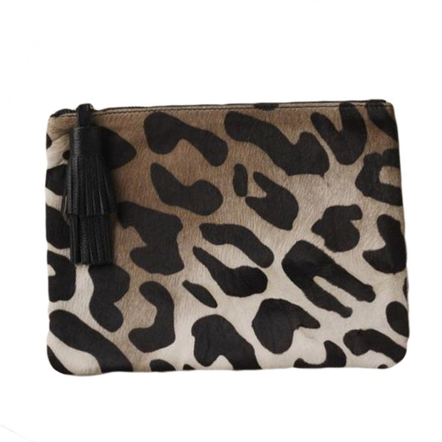 NIGHT FEVER POUCH IN CALF HAIR - LEOPARD