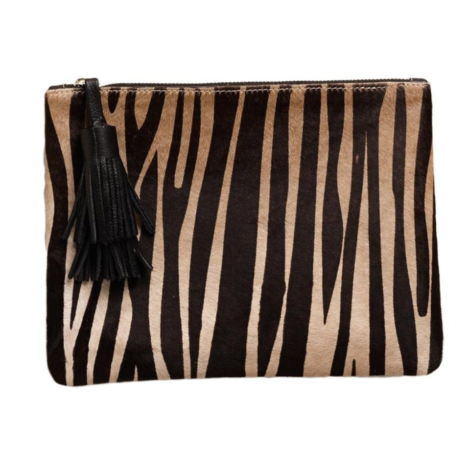NIGHT FEVER POUCH IN CALF HAIR - ZEBRA