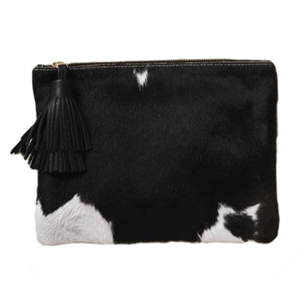 NIGHT FEVER POUCH IN CALF HAIR - NATURAL BLACK