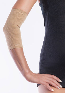 #1 Elbow Compression Support Sleeve / Brace. Joint pain relief - Injury recovery - For MEN and WOMEN. 1 pair - Beige .