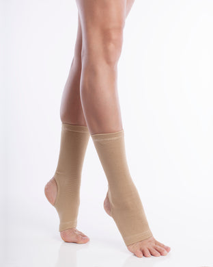 #1 Ankle Compression Support Sleeve / Brace. Joint paint relief - Injury recovery - Stabilizer wrap. For MEN and Women. 1 Pair - Beige.