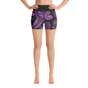Pink & Black Floral Yoga Shorts