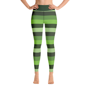 Green Stripped Yoga Pants