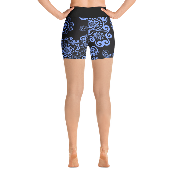 Blue Floral Yoga Shorts