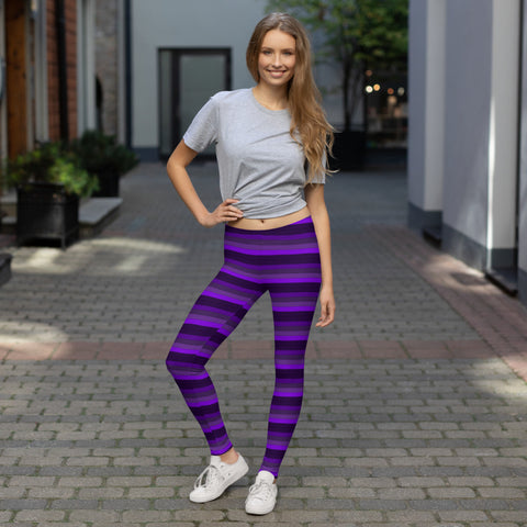 Purple Striped Leggings