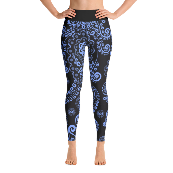Blue Floral Yoga Pants