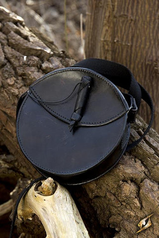 Round Leather Bag Black