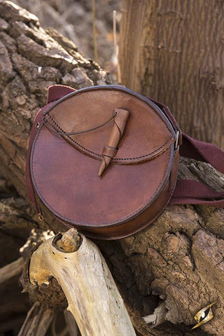 Round Leather Bag Brown