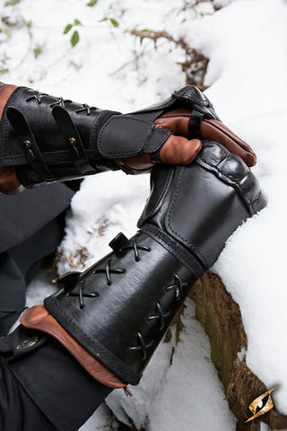 Leather Gauntlet Black Right Hand