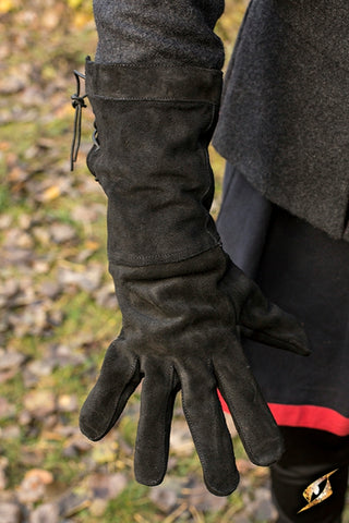 Leather Gloves - Black - Large