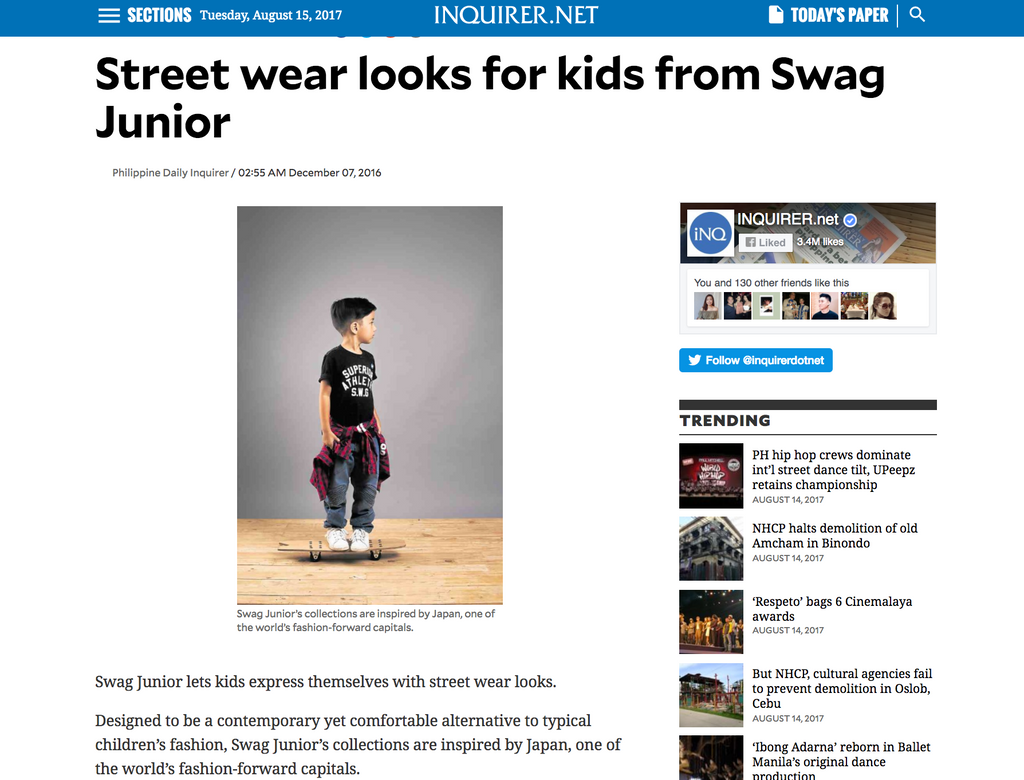 Swag Junior on Inquirer