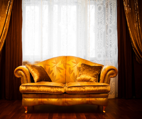 A Representation of the Silk Fabric as an upholstery fabric used on a couch in a home used for an blog post on a home decor store called leelathestore